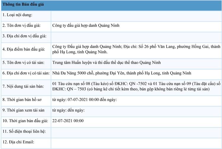 Ngày 22/7/2021, đấu giá tàu cứu nạn số 08 tại tỉnh Quảng Ninh ảnh 1
