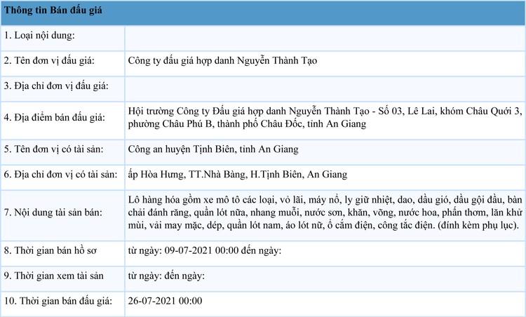 Ngày 26/7/2021, đấu giá tài sản bị tịch thu sung quỹ tại tỉnh An Giang ảnh 10