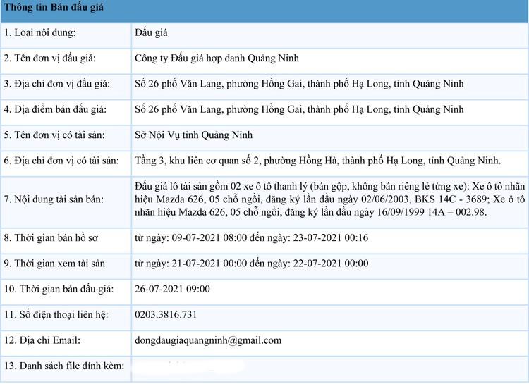 Ngày 26/7/2021, đấu giá 02 xe ô tô tại tỉnh Quảng Ninh ảnh 1