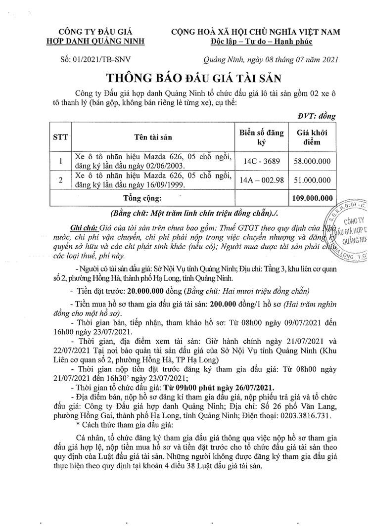 Ngày 26/7/2021, đấu giá 02 xe ô tô tại tỉnh Quảng Ninh ảnh 2