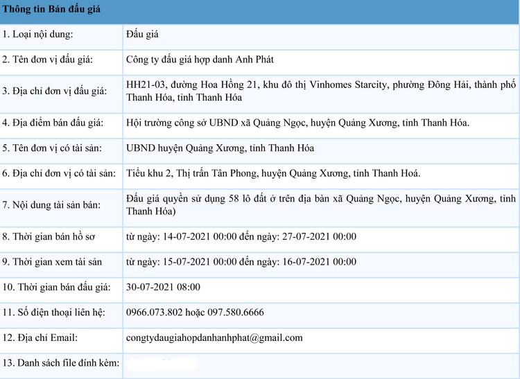 Ngày 30/7/2021, đấu giá quyền sử dụng 58 lô đất tại huyện Quảng Xương, tỉnh Thanh Hóa ảnh 1
