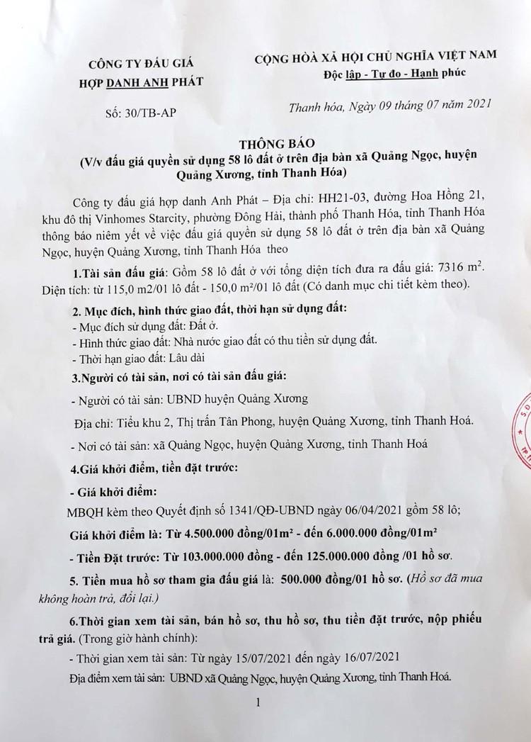 Ngày 30/7/2021, đấu giá quyền sử dụng 58 lô đất tại huyện Quảng Xương, tỉnh Thanh Hóa ảnh 2