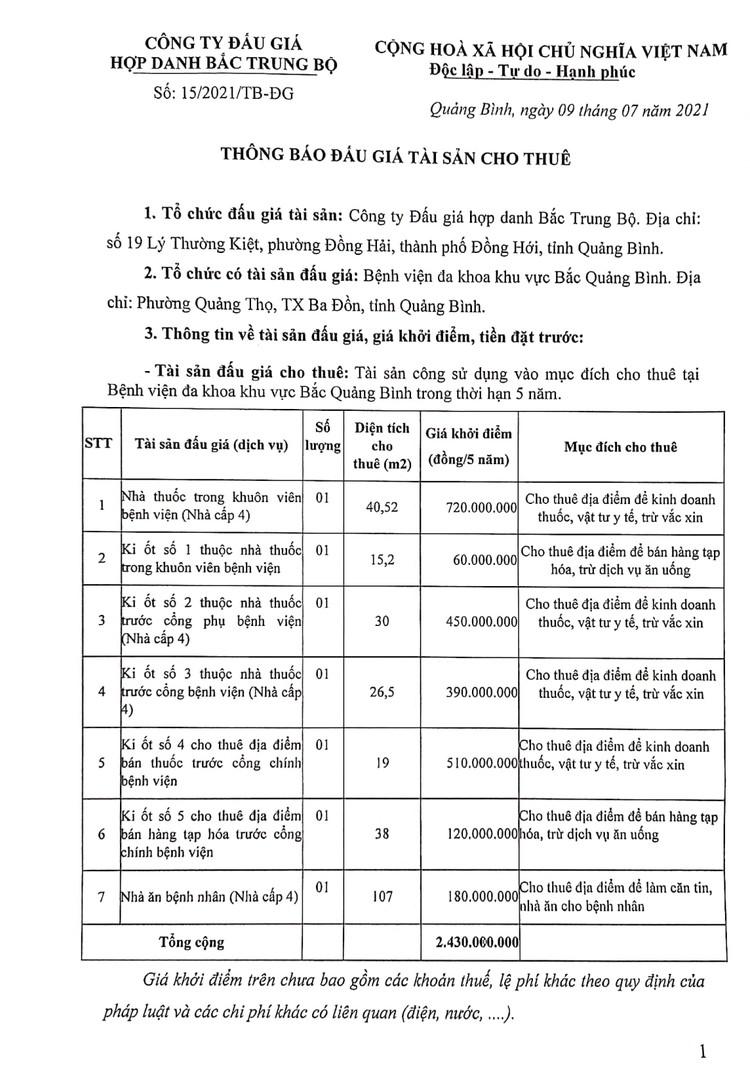 Ngày 6/8/2021, đấu giá tài sản cho thuê tại Bệnh viện đa khoa khu vực Bắc Quảng Bình ảnh 2