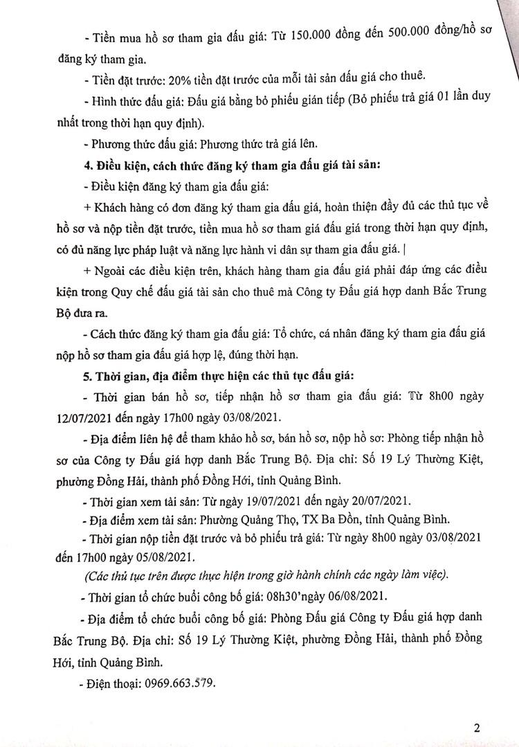 Ngày 6/8/2021, đấu giá tài sản cho thuê tại Bệnh viện đa khoa khu vực Bắc Quảng Bình ảnh 3