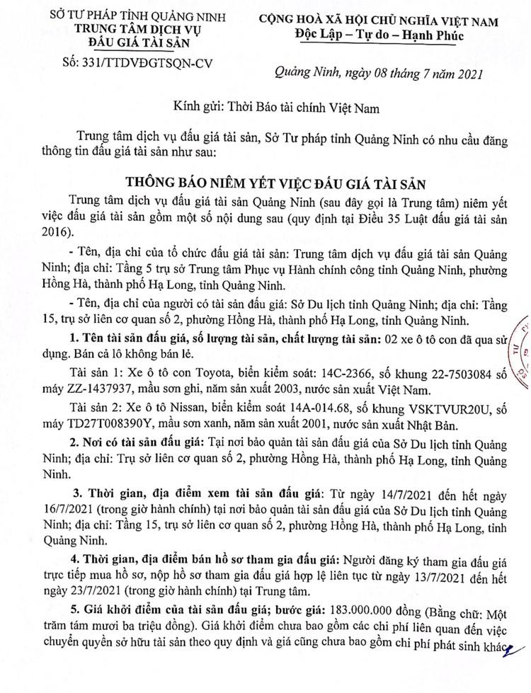 Ngày 30/7/2021, đấu giá 5 xe ô tô tại Hà Nội ảnh 3