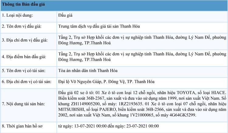 Ngày 28/7/2021, đấu giá 02 xe ô tô tại tỉnh Thanh Hóa ảnh 1