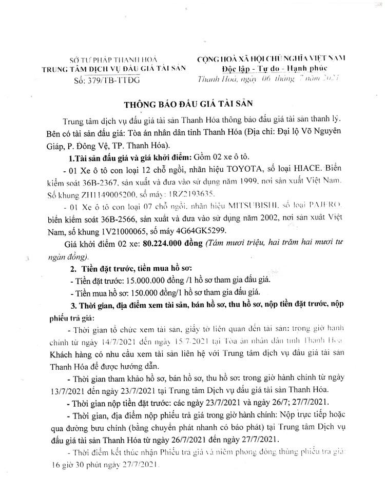 Ngày 28/7/2021, đấu giá 02 xe ô tô tại tỉnh Thanh Hóa ảnh 3