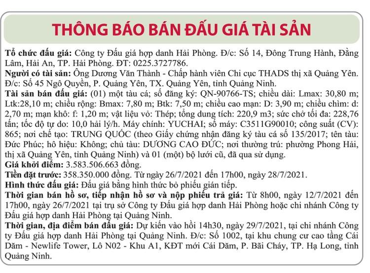 Ngày 29/7/2021, đấu giá tàu đánh cá và 1 bộ lưới cũ tại tỉnh Quảng Ninh ảnh 1