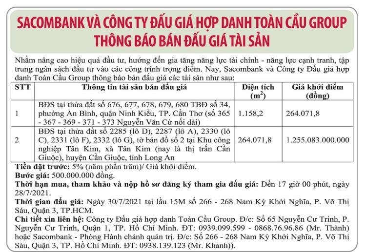 Ngày 30/7/2021, đấu giá quyền sử dụng đất tại huyện Cần Giuộc (tỉnh Long An) và quận Ninh Kiều (TP.Cần Thơ) ảnh 1