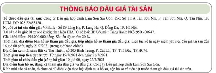 Ngày 22/7/2021, đấu giá xe ô tô Thaco tại TP.HCM ảnh 1