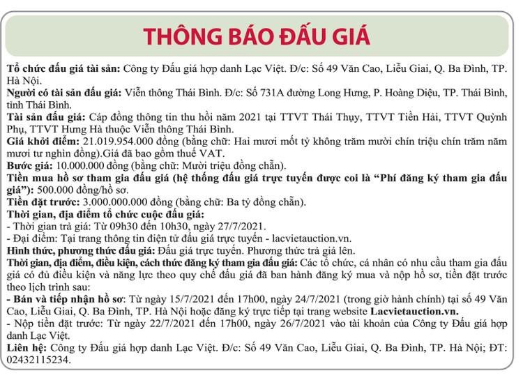 Ngày 27/7/2021, đấu giá cáp đồng thông tin thu hồi năm 2021 tỉnh Thái Bình ảnh 1