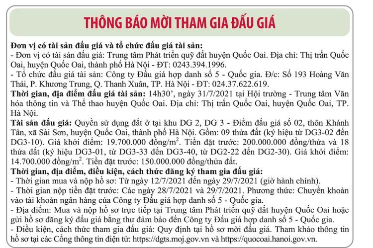 Ngày 31/7/2021, đấu giá quyền sử dụng đất tại huyện Quốc Oai, Hà Nội ảnh 1