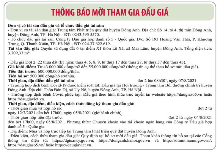 Ngày 7/8/2021, đấu giá quyền sử dụng đất tại huyện Đông Anh, Hà Nội ảnh 1