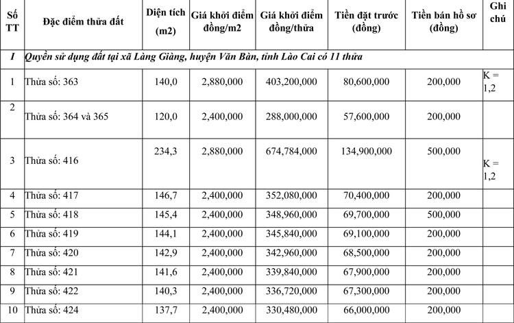 Ngày 23/7/2021, đấu giá quyền sử dụng đất tại huyện Văn Bàn, tỉnh Lào Cai ảnh 1