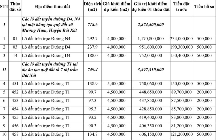 Ngày 24/7/2021, đấu giá quyền sử dụng đất tại huyện Bát Xát, tỉnh Lào Cai ảnh 1