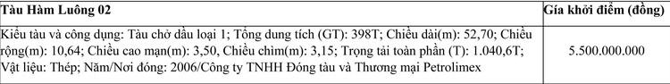Ngày 20/7/2021, đấu giá tàu Hàm Luông 02 tại TP.HCM ảnh 1