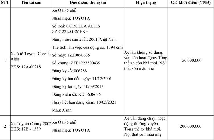 Ngày 21/7/2021, đấu giá 11 xe ô tô tại tỉnh Thái Bình ảnh 1