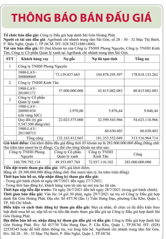 Ngày 29/7/2021, đấu giá giá 3 khoản nợ của Công ty Phong Nguyên, Kinh Tân và Quản lý xanh tại Agribank Chi nhánh trung tâm Sài Gòn ảnh 1