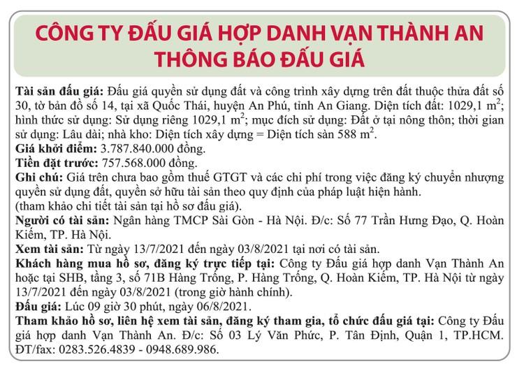 Ngày 6/8/2021, đấu giá quyền sử dụng đất tại huyện An Phú, tỉnh An Giang ảnh 1