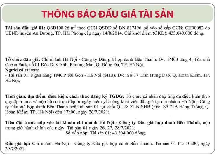 Ngày 29/7/2021, đấu giá quyền sử dụng đất tại huyện An Dương, TP.Hải Phòng ảnh 1