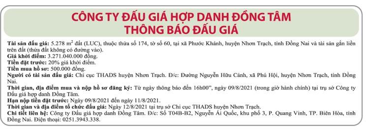 Ngày 12/8/2021, đấu giá quyền sử dụng đất tại huyện Nhơn Trạch, tỉnh Đồng Nai ảnh 1
