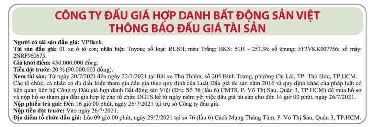 Ngày 26/7/2021, đấu giá xe ô tô Toyota tại TP.HCM ảnh 1