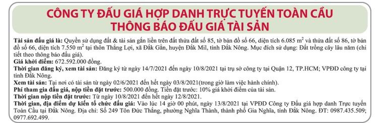 Ngày 13/8/2021, đấu giá quyền sử dụng đất tại huyện Đắk Mil, tỉnh Đắk Nông ảnh 1