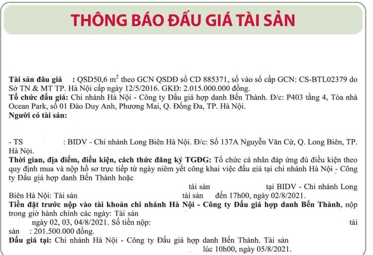 Ngày 5/8/2021, đấu giá quyền sử dụng đất tại Hà Nội ảnh 1