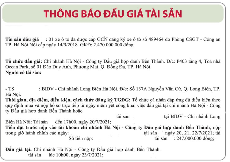 Ngày 23/7/2021, đấu giá xe ô tô tại Hà Nội ảnh 1