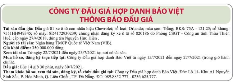 Ngày 30/7/2021, đấu giá xe ô tô Chevrolet tại thành phố Đà Nẵng ảnh 1