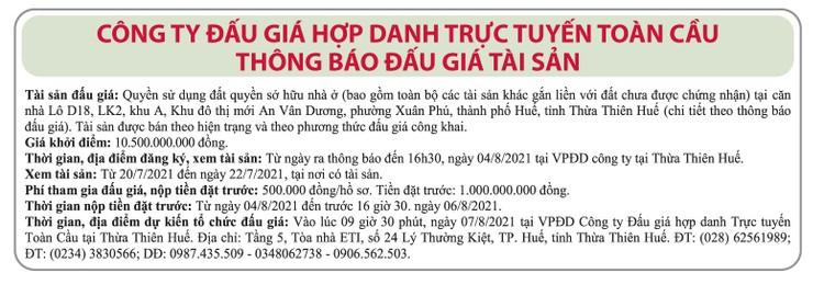 Ngày 7/8/2021, đấu giá quyền sử dụng đất tại TP.Huế, tỉnh Thừa Thiên Huế ảnh 1