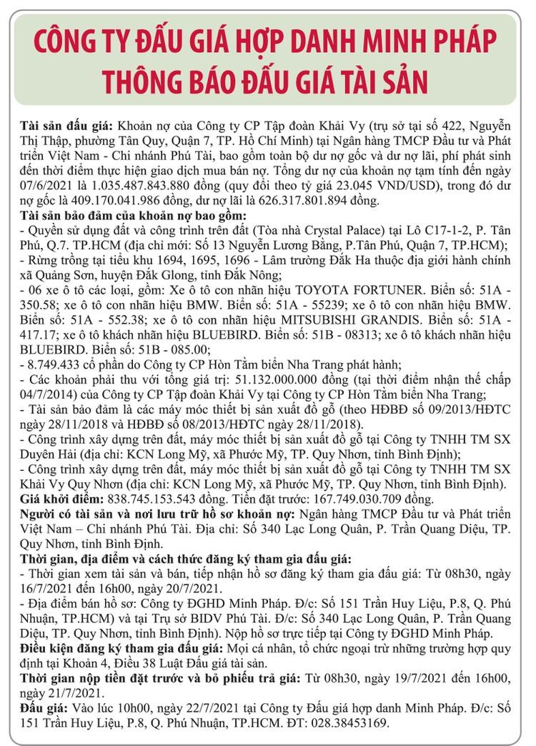 Ngày 22/7/2021, đấu giá khoản nợ của Công ty CP Tập đoàn Khải Vy tại Ngân hàng Đầu tư và Phát triển Việt Nam Chi nhánh Phú Tài ảnh 1