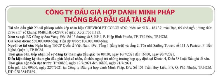 Ngày 22/7/2021, đấu giá xe ô tô Chevrolet tại TPHCM ảnh 1