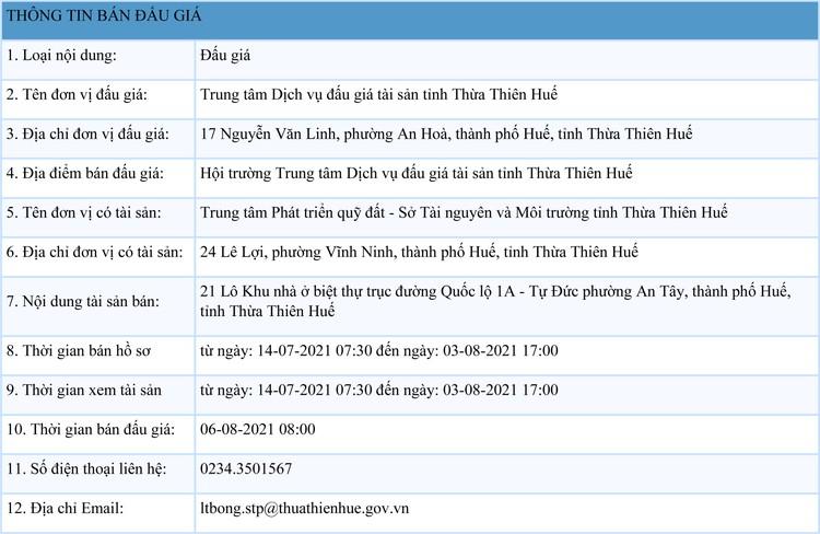 Ngày 6/8/2021, đấu giá quyền sử dụng đất tại thành phố Huế, tỉnh Thừa Thiên Huế ảnh 1