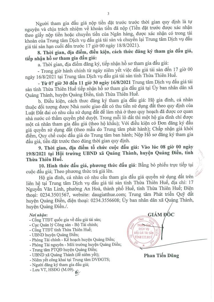 Ngày 19/8/2021, đấu giá quyền sử dụng đất tại huyện Quảng Điền, tỉnh Thừa Thiên Huế ảnh 4