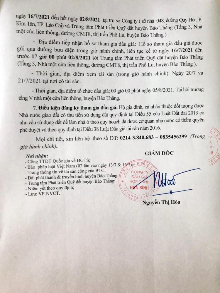 Ngày 5/8/2021, đấu giá quyền sử dụng đất tại huyện Bảo Thắng, tỉnh Lào Cai ảnh 4