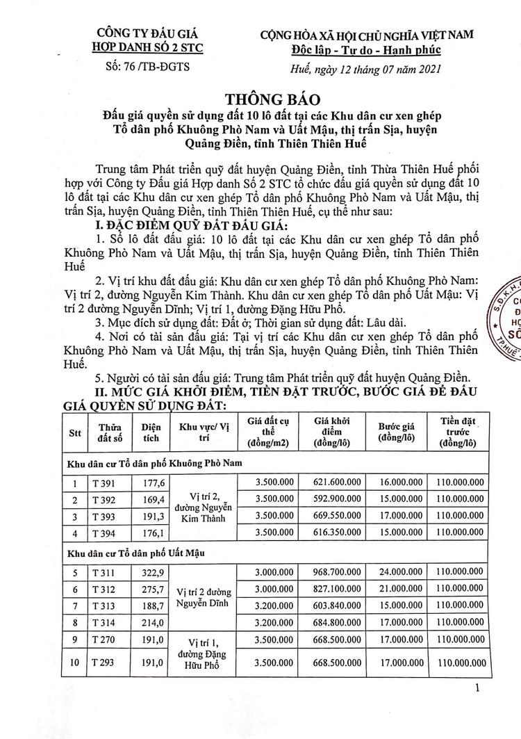 Ngày 13/8/2021, đấu giá quyền sử dụng 10 lô đất tại huyện Quảng Điền, tỉnh Thiên Thiên Huế ảnh 2