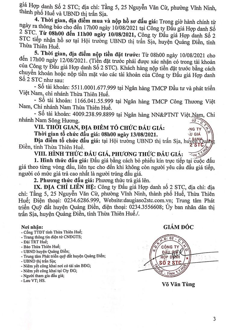 Ngày 13/8/2021, đấu giá quyền sử dụng 10 lô đất tại huyện Quảng Điền, tỉnh Thiên Thiên Huế ảnh 4