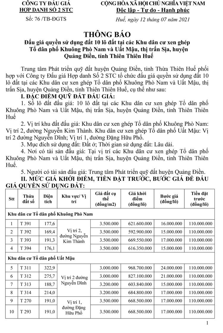Ngày 13/8/2021, đấu giá quyền sử dụng 10 lô đất tại huyện Quảng Điền, tỉnh Thiên Thiên Huế ảnh 8