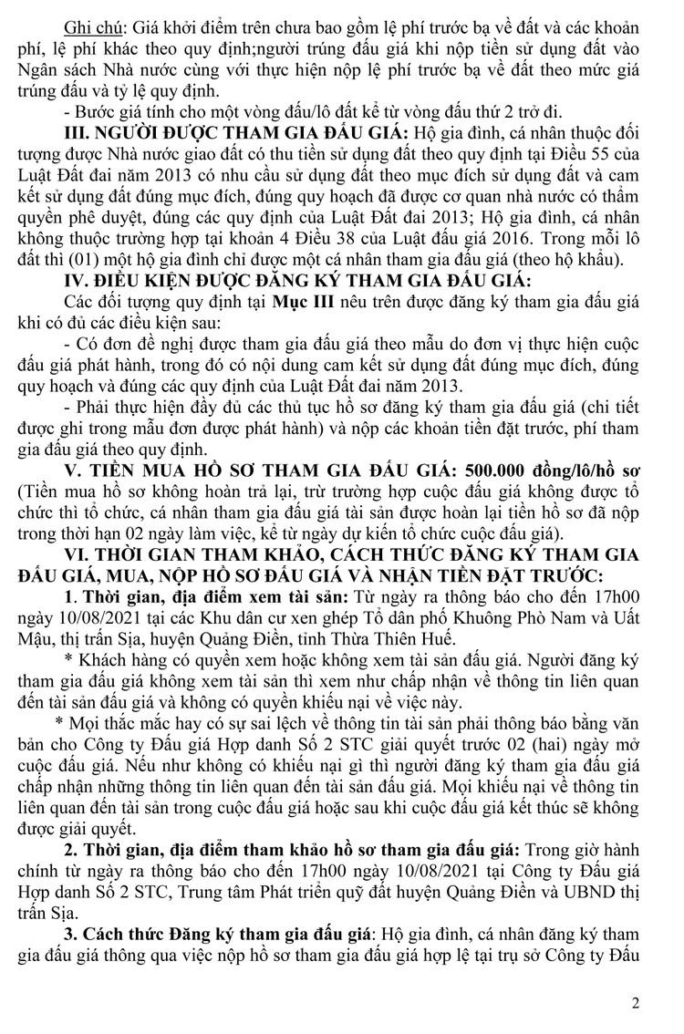 Ngày 13/8/2021, đấu giá quyền sử dụng 10 lô đất tại huyện Quảng Điền, tỉnh Thiên Thiên Huế ảnh 9