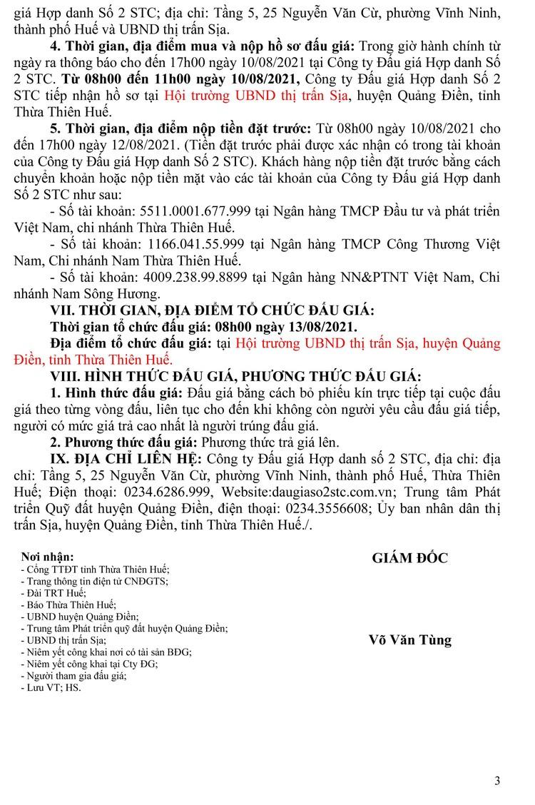 Ngày 13/8/2021, đấu giá quyền sử dụng 10 lô đất tại huyện Quảng Điền, tỉnh Thiên Thiên Huế ảnh 10