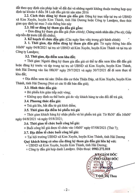 Ngày 7/8/2021, đấu giá quyền sử dụng đất tại huyện Kim Thành, tỉnh Hải Dương ảnh 5