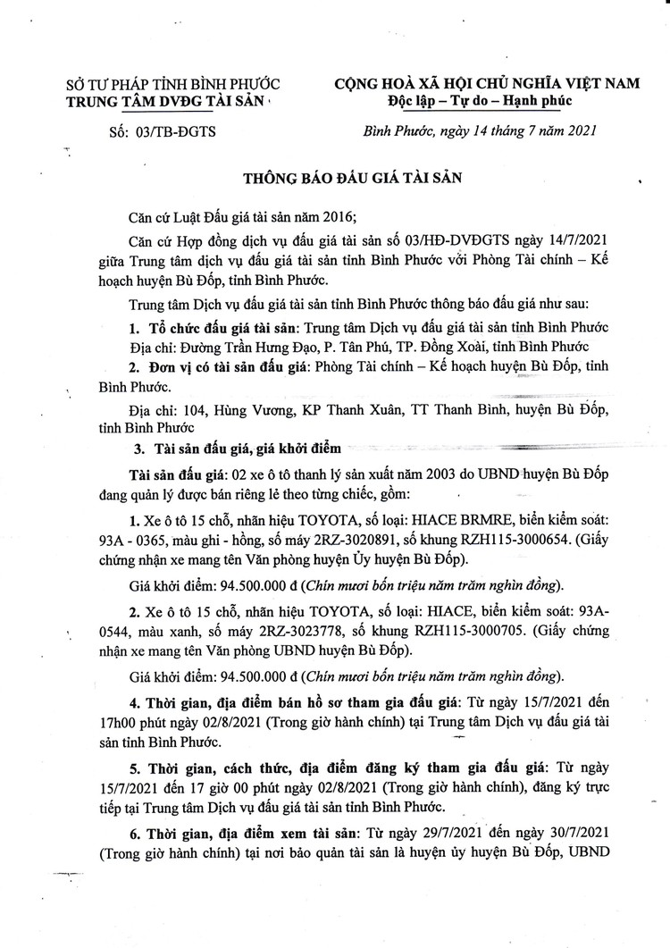 Ngày 5/8/2021, đấu giá 02 xe ô tô thanh lý tại tỉnh Bình Phước ảnh 2