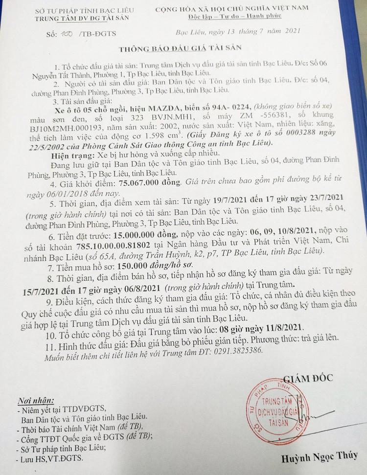 Ngày 11/8/2021, đấu giá xe ô tô MAZDA tại tỉnh Bạc Liêu ảnh 2