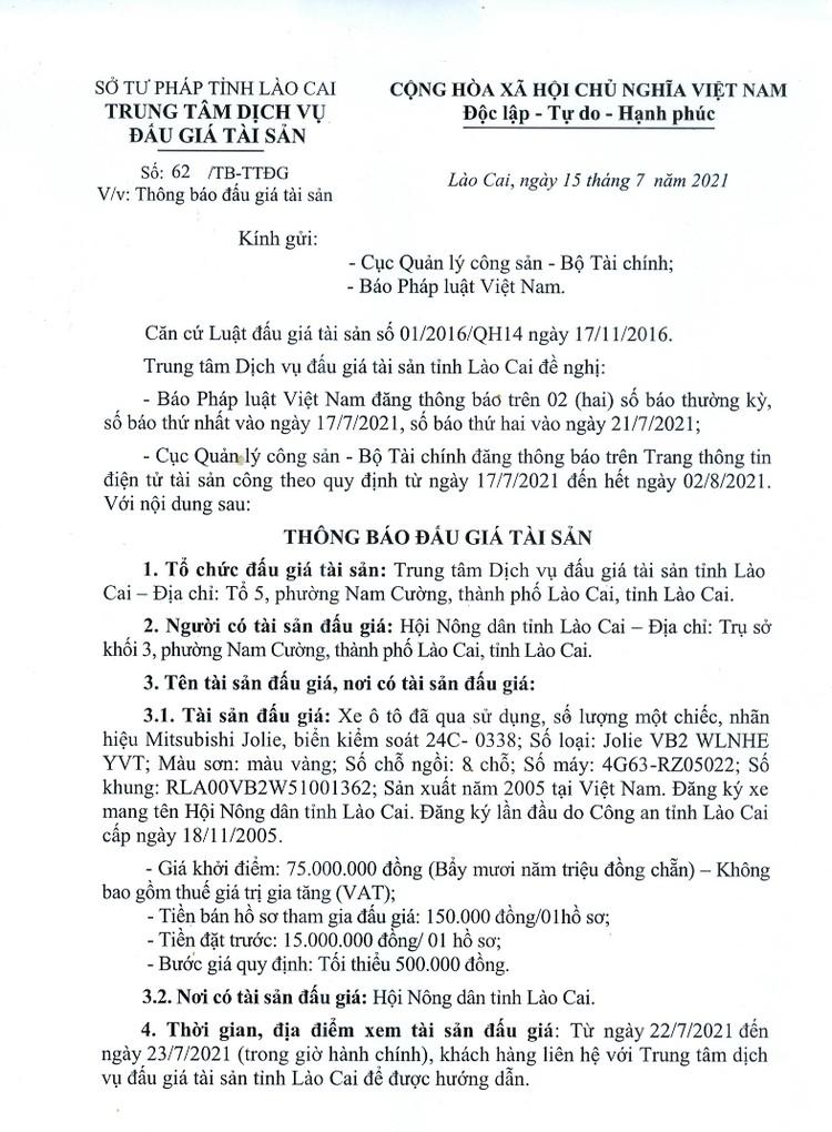 Ngày 2/8/2021, đấu giá xe ô tô Mitsubishi Jolie tại tỉnh Lào Cai ảnh 2