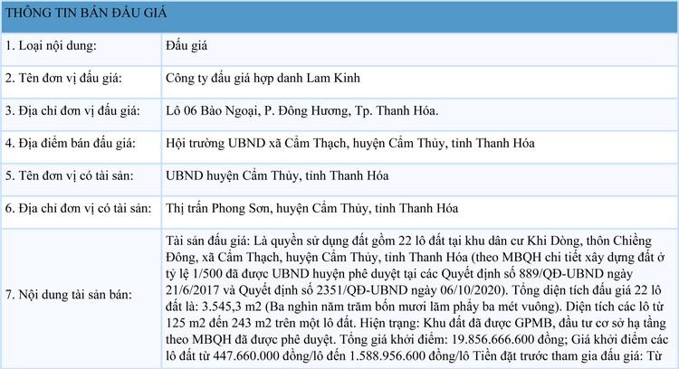 Ngày 2/8/2021, đấu giá quyền sử dụng 22 lô đất tại huyện Cẩm Thủy, tỉnh Thanh Hóa ảnh 1