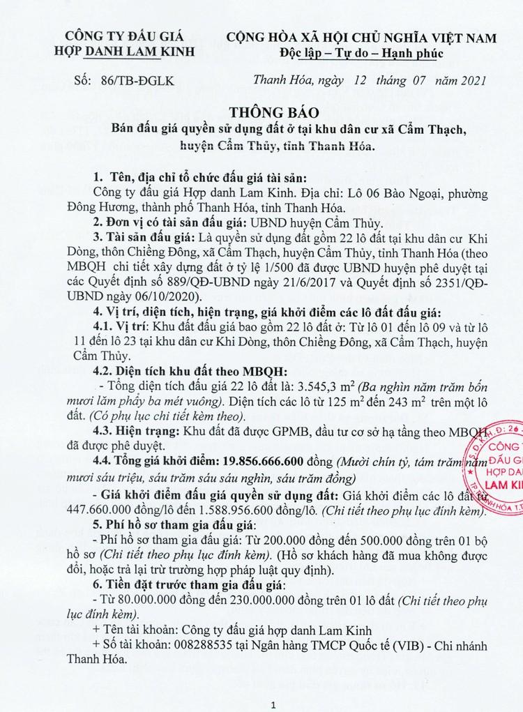 Ngày 2/8/2021, đấu giá quyền sử dụng 22 lô đất tại huyện Cẩm Thủy, tỉnh Thanh Hóa ảnh 3