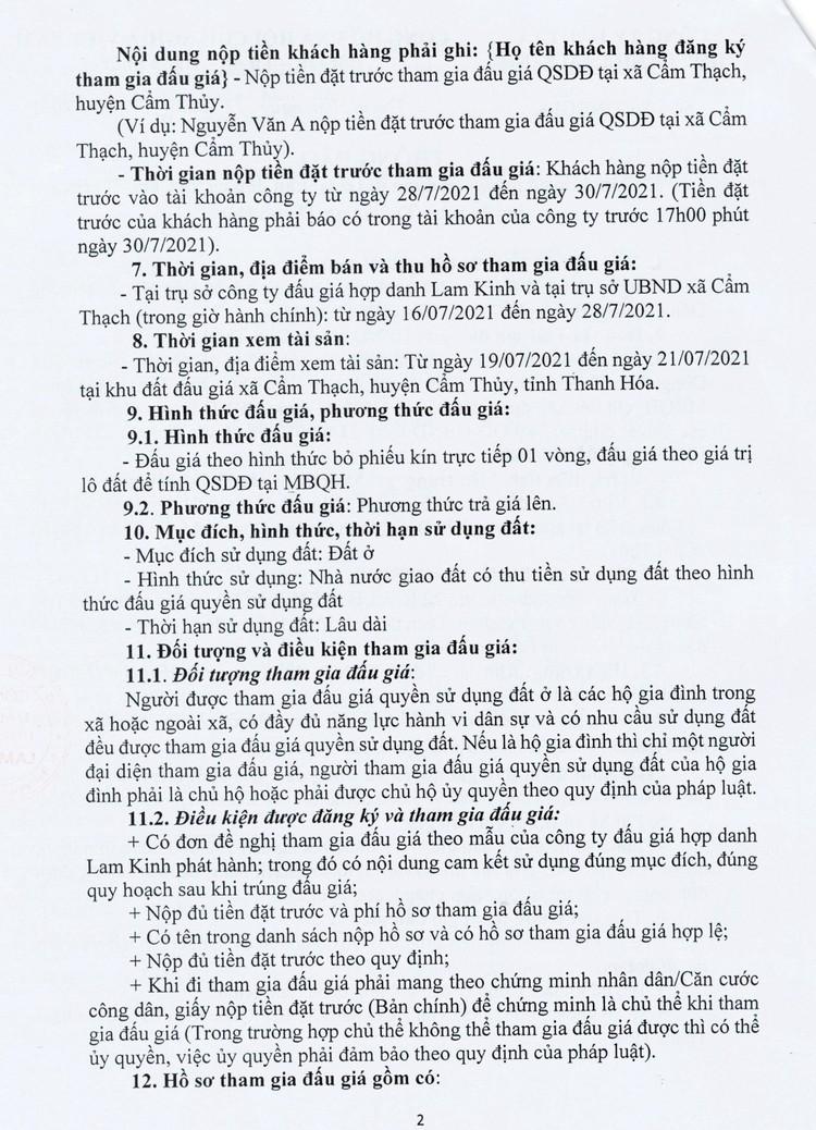 Ngày 2/8/2021, đấu giá quyền sử dụng 22 lô đất tại huyện Cẩm Thủy, tỉnh Thanh Hóa ảnh 4