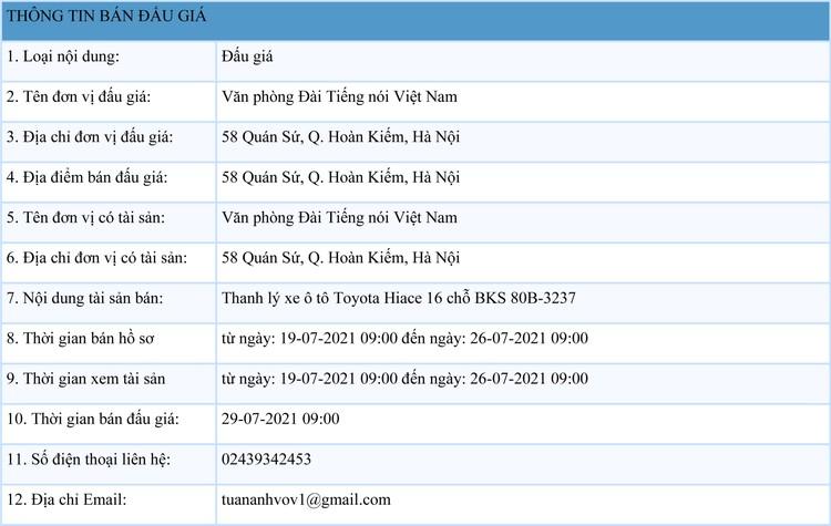 Ngày 29/7/2021, đấu giá xe ô tô Toyota Hiace tại Hà Nội ảnh 1