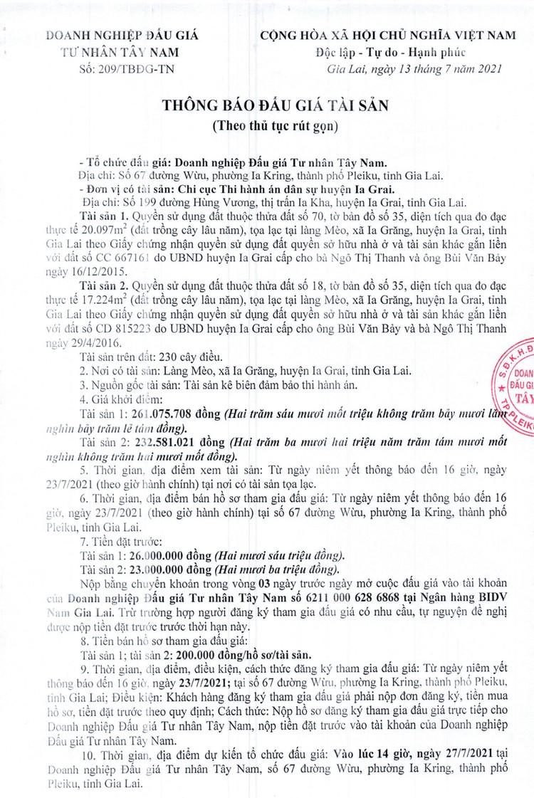 Ngày 27/7/2021, đấu giá quyền sử dụng đất tại thành phố Pleiku, tỉnh Gia Lai ảnh 2